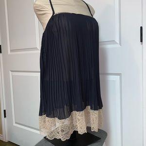 Victoria's Secret Black Pleated Beige Lace Gown S